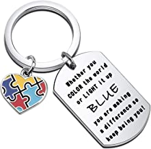 SEIRAA Autism Awareness Gift Autism Keychain Make A Difference Jewelry Autism Mom Gift Inspirational Keychain for Kids