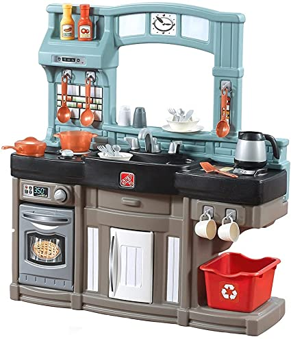 Amazon Com Step2 Best Chefs Kitchen Playset Kids Play Kitchen With 25 Pc Toy Accessories Set Real Lights Sounds Multicolor Toys Games