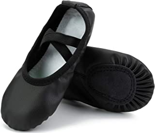 Girls Leather Ballet Shoes Full Sole Yoga Shoes/Dance Shoes(Toddler/Little Kid/Big Kid/Women)