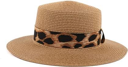 KFEK Cinturón con Estampado de Leopardo Tejido Lateral Sombrero de Paja Grande sombrilla Exterior sombrilla A2