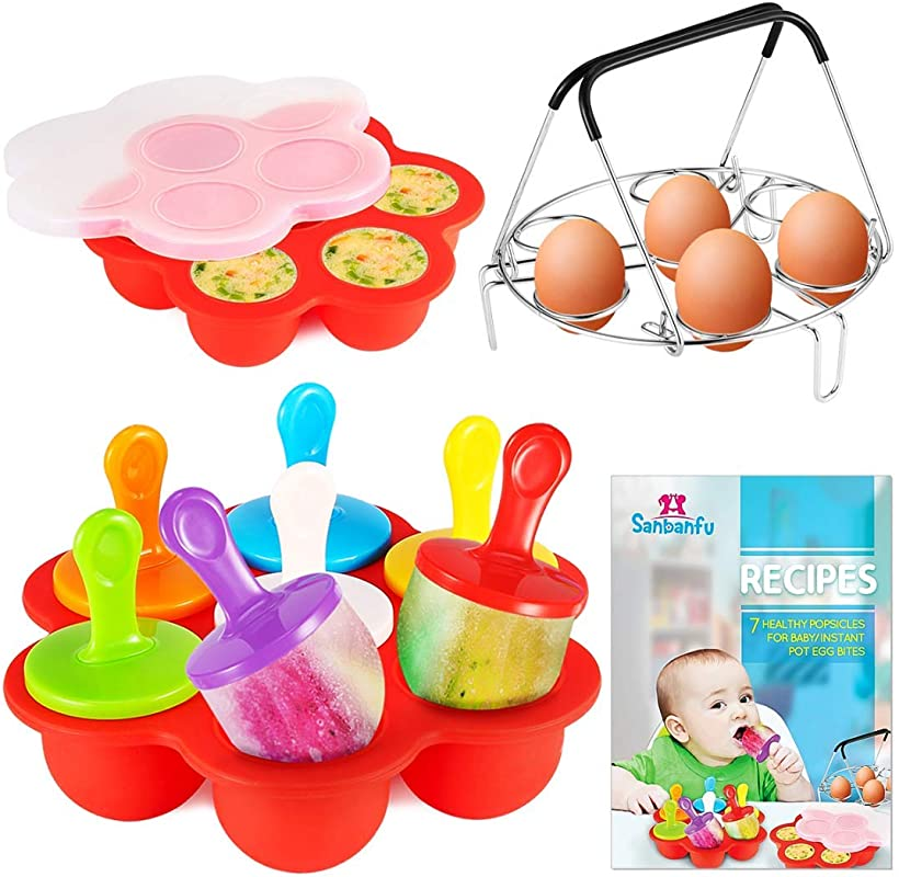 Sanbanfu Egg Bites And Popsicles Silicone Molds With 7 Hole Egg Steamer Rack Trivet Silicone Pop Mold Recipes Instructions Baby Food Freeze Trays