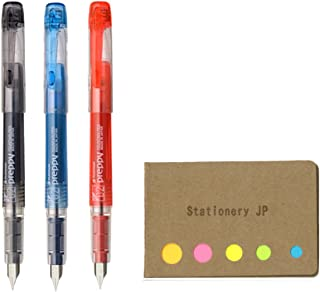 Platinum Preppy Rainbow Fountain Pen, Extra Fine Point 02, Black/Blue Black/Red Ink, Sticky Notes Value Set