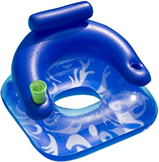 Sun Searcher Aqua-Cliner Lazy Lounger Inflatable Pool Float with Cup Holders