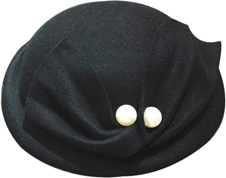 Wool Beret Hat for Women Ladies Hats Vintage Pearl Bow Church Beret Cap Wedding Derby Fedora Caps