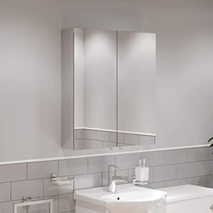 Artis Double Door Bathroom Mirror Cabinet Cupboard Stainless Steel Wall Mounted 600mm Amazon Co Uk Home Kitchen