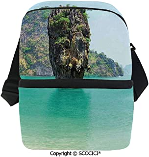 SCOCICI Collapsible Cooler Bag James Bond Stone Island Landscape in Tropical Beach Cruising Journey of Life Photo Insulated Soft Lunch Leakproof Cooler Bag for Camping,Picnic,BBQ