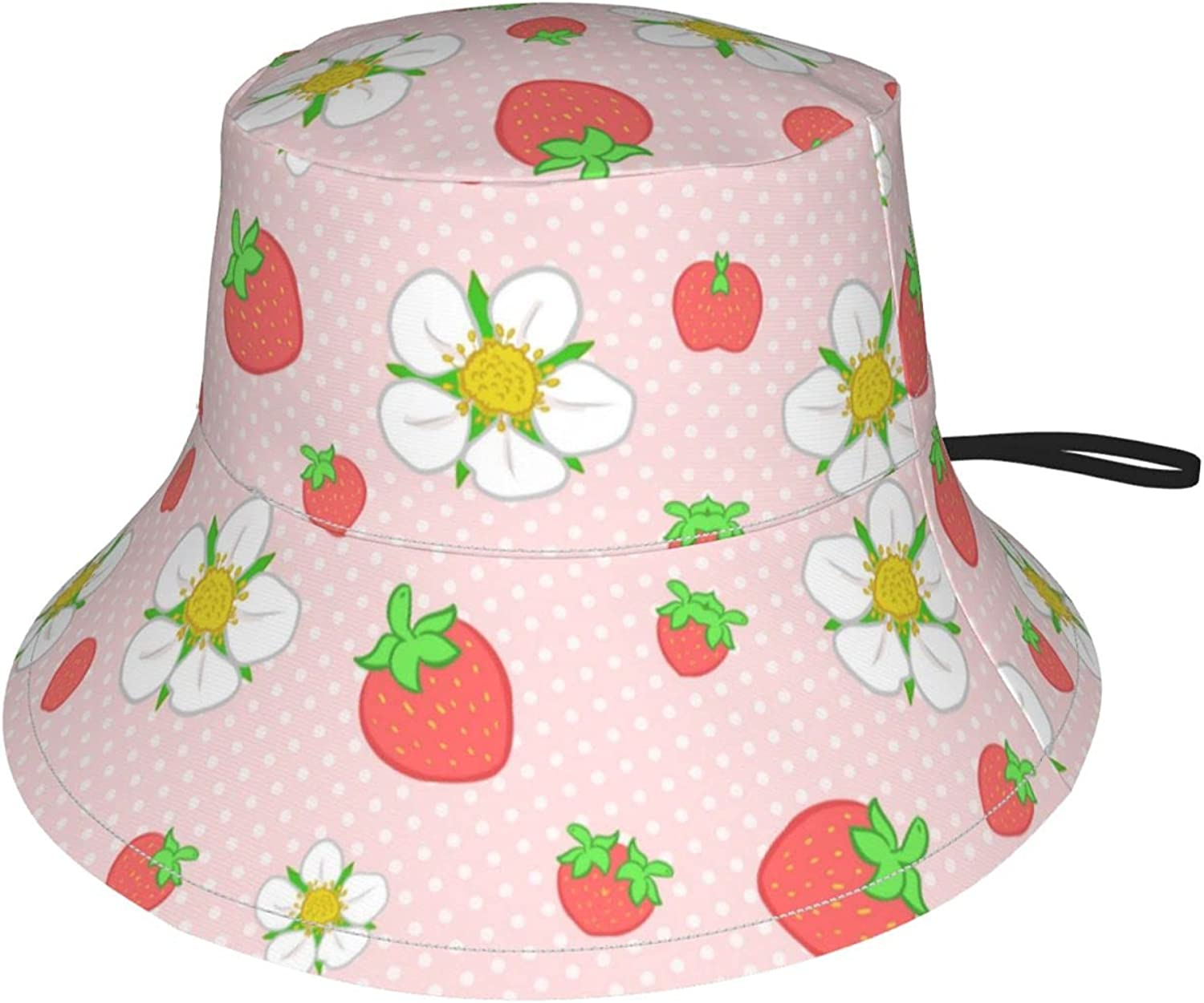 Strawberry Dots in Pink Kids Bucket Hat Sun Protection Hat for Boys Girls Breathable Summer Play Hat