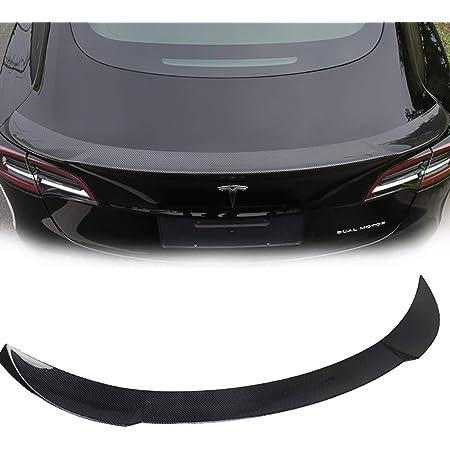 rende la tua auto pi/ù alla moda di lusso.,Bright-black spoiler posteriore per auto con ala in materiale in fibra di carbonio Spoiler per baule posteriore ideale per auto di Tesla Model 3 16-18