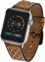 Brown Apple Watch 38mm/42mm Band Replacement, FreeDeal Punk Fashion Genuine Leather Wristband iWatch Bands Exclusive Designer