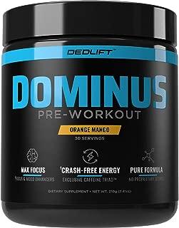DEDLift Dominus Pre Workout Powder, Crash-Free Energy, Tunnel Vision Focus, Muscle Pumps, Orange Mango, 30 Servings
