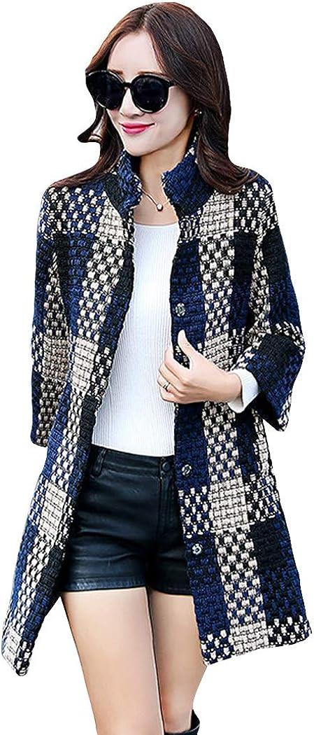 watersouprty Women's Lattice Special sale item Wool Coat Opening large release sale Sleeve Front Open Long Sl