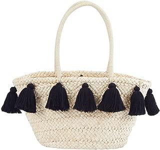 Women's Fashion Tassel Straw Tote (Black)