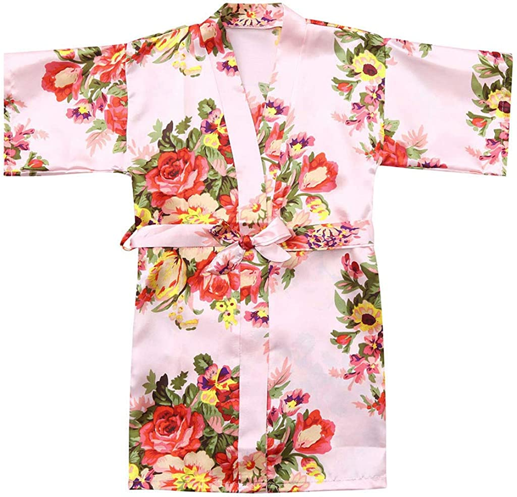 MOMKER Baby Kid Girls Floral Silk Satin Kimono Robes Bathrobe Sleepwear Clothes