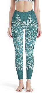 Zerosubsidi Womens Compression Fitness Yoga Pants Darkcyan Blue Mandala Super Soft Leggings Tights Non See-Through Fabric