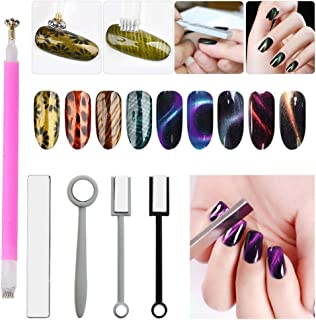 PhantomSky Magnet Stick Magnet Pen Manicure Nail Art Tool, 5 PCS Nail Magnet Magnet Plate Wand Board for 3D Magnetic Cat Eye Gel Nail Polish Powder DIY Tool