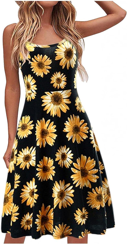 JMMSmax Women's Casual Dresses Summer Sleeveless Spaghetti Strap Waist A Line Dress Spaghetti Straps Swing Short Dress