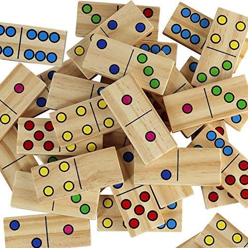 Dominoes for Kids - Wooden Dominos with Numbers - Math Domino Color Dots 28 pcs Set