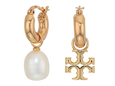Tory Burch Kira Pearl Mismatched Hoop Earrings (Tory Gold/Ivory) Earring