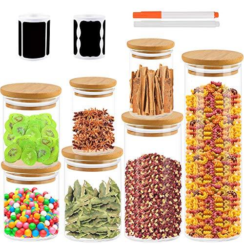 K KUMEED 7PCS Bocaux Conservation Bambou Bocaux de Rangement en Verre Bocal en Verre Pot en Verreavec Couvercle Hermétique en Bambou Conservation Alimentaire pour Cuisine Salle de Bain