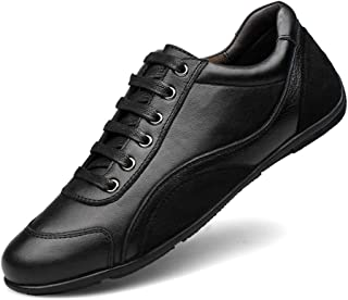 Fashion Sneakers for Men Genuine Leather Cozy Soft Outdoor Running Walking Casual Shoes Anti-Slip Flat Lace Up Vegan Round Toe Men's Boots (Color : Black, Size : 8.5 UK)