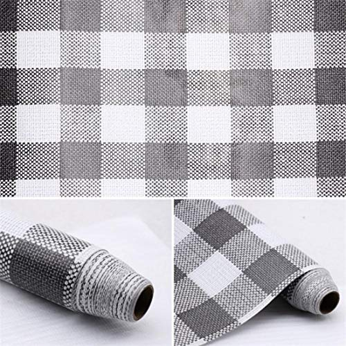 Self Adhesive Vinyl Faux Gingham Plaid Cloth Look Shelf Drawer Liner Paper for Dresser Cabinets Furniture Pantry Bookshelves Closet Shelving Table Countertop Crafts School Projects 177x78 Inch Grey