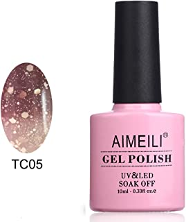 AIMEILI Soak Off UV LED Temperature Color Changing Chameleon Gel Nail Polish - Chocolate Spark (TC05) 10ml