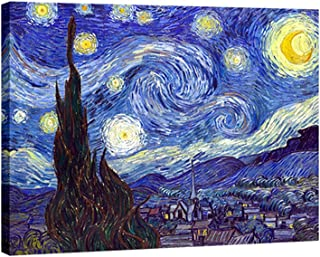 Wieco Art - Starry Night by Van Gogh Famous Oil Paintings Reproduction Modern Giclee Canvas Prints Artwork Abstract Landsc...