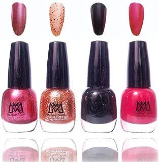 Makeup Mania Premium Nail Polish Exclusive Nail Paint Combo (Black, Golden Glitter, Pink, Pack of 4)