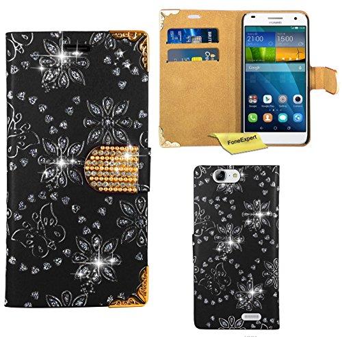 FoneExpert® Huawei Ascend G7 Handy Tasche, Bling Diamant Hülle Wallet Case Cover Hüllen Etui Ledertasche Premium Lederhülle Schutzhülle für Huawei Ascend G7 (Schwarz)