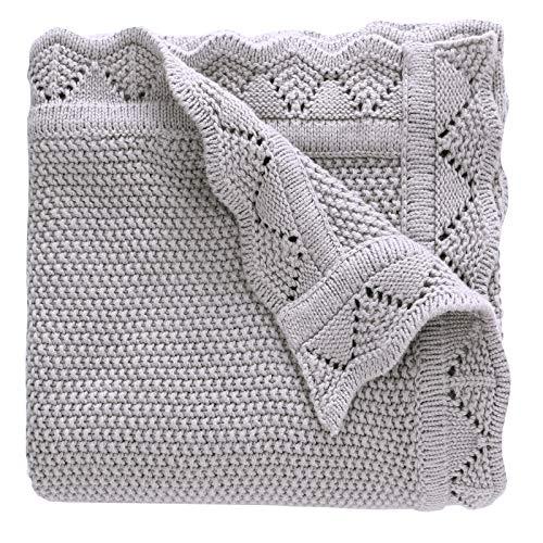 LAT Manta para bebé 76 x 102 cm-Manta de punto,Colcha de punto,100% algodón y trenzado para bebé (gris)