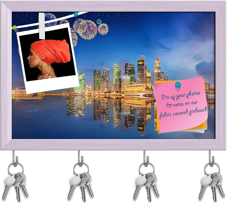 Artzfolio Fireworks in Marina Bay Singapore D3 Key Holder Hooks   Notice Pin Board   White Frame 18.6 X 12Inch