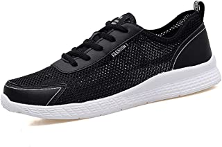 XUJW-Shoes, Athletic Shoes for Men Thin Breathable Mesh Upper Summer Outdoor Activities Running Sneakers Anti-Slip Flat Lace Up Lightweight Durable Soft (Color : Black, Size : 10.5 UK)