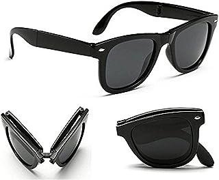 Poloport Black Frame Shade Lens Folding Foldable Wayfarer Unisex Sunglasses