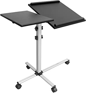 Mount-It! Rolling Laptop Tray and Projector Cart, Height Adjustable Presentation Cart with Wheels | Overbed Table with Til...