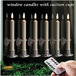 6PACK Flameless Battery Powered Ivory Taper Windows Candles with Remote and Timer & Candlestick, with Clips, Suction Cup,and Removable Silver Candleholders, Remote Included.Christmas decor candles