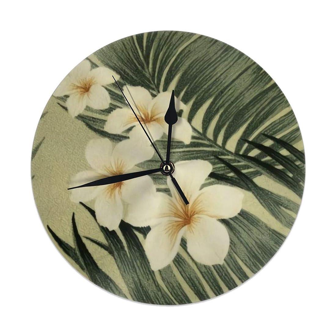 ファンド付き添い人を除く壁掛け時計、熱帯植物??とハイビスカスの花を持つハワイアンクールプリントサイレント非カチカチ音を立てる9.84インチ電池式ラウンド読みやすい家、オフィス、学校の時計