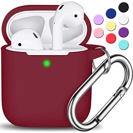 AirPods Case Cover with Keychain, Full Protective Silicone AirPods Accessories Skin Cover for Women Girl with Apple AirPods Wireless Charging Case,Front LED Visible-Wine red