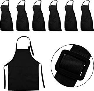 YUYIKES 7 Pieces Black Kids Apron with Pocket Kitchen Bib Children Adjustable Chef Aprons for Cooking Baking Painting (Black)