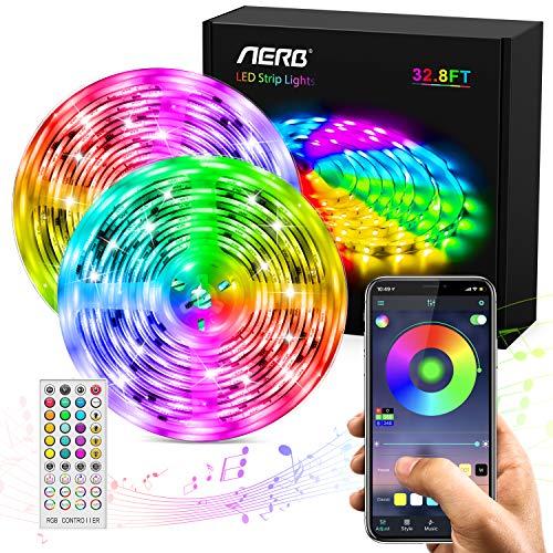 AERB 10M Bluetooth LED Tira Música, TV retroiluminada Tira RGB 5050, IP65 Impermeable, Función Música, Program Persanalizado, 300LEDs 12V 6A, APP y control remoto 44 tecla, Bares Decoraciones