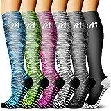 CHARMKING Compression Socks 15-20 mmHg is Best Graduated Athletic & Daily for Men & Women Running, Travel, Nurses (08white/Green/Black/Green/White/Red, Large/X-Large (US Women 8-15.5/US Men 8-14))