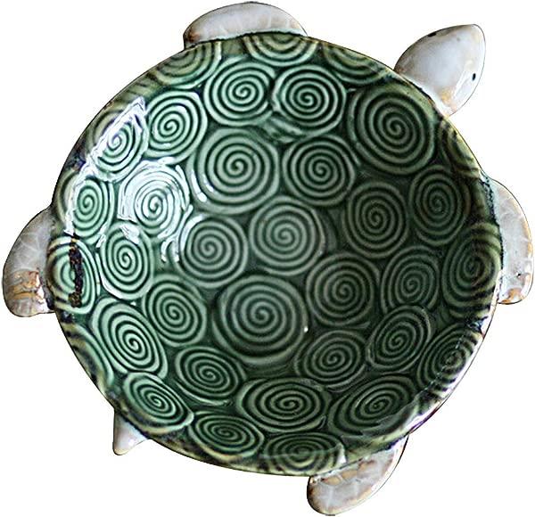 Hophen 绿龟陶瓷肥皂戒指饰品小饰品糖果坚果烟灰缸托盘碗架桌面婚礼家居中心摆件小