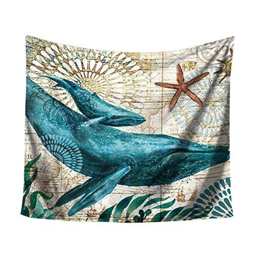 Weimay Grandes Rectangulares Tapetes de Playa Indio Boho Toalla de Playa Anti Arena Manta de Picnic Acampar Al Aire Libre Mats Vida marina (delfín) 150 * 102 cm