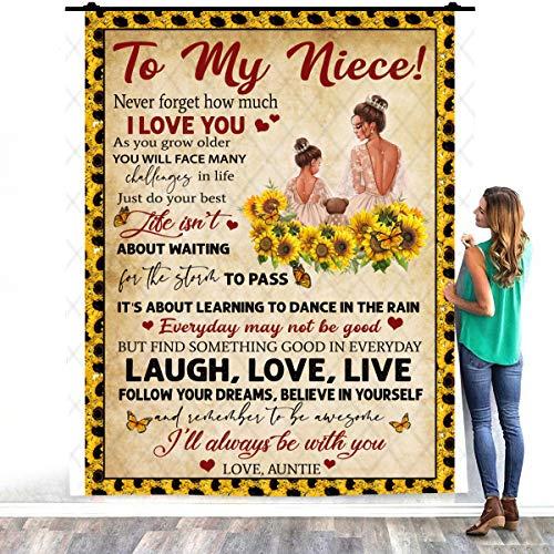 To My Niece I'll Always Be With You Never Forget How Much I Love You Auntie - Manta de forro polar de felpa para decoración de dormitorios (60 x 80 pulgadas)