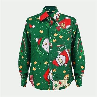 Hapeisy Christmas Men Long Seleeve snowman printed shirt