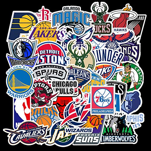 YCYY 32 NBA Team Logo Graffiti Electric Car Sticker Balance Car Scooter Locomotive Helmet Scar Mask Sticker