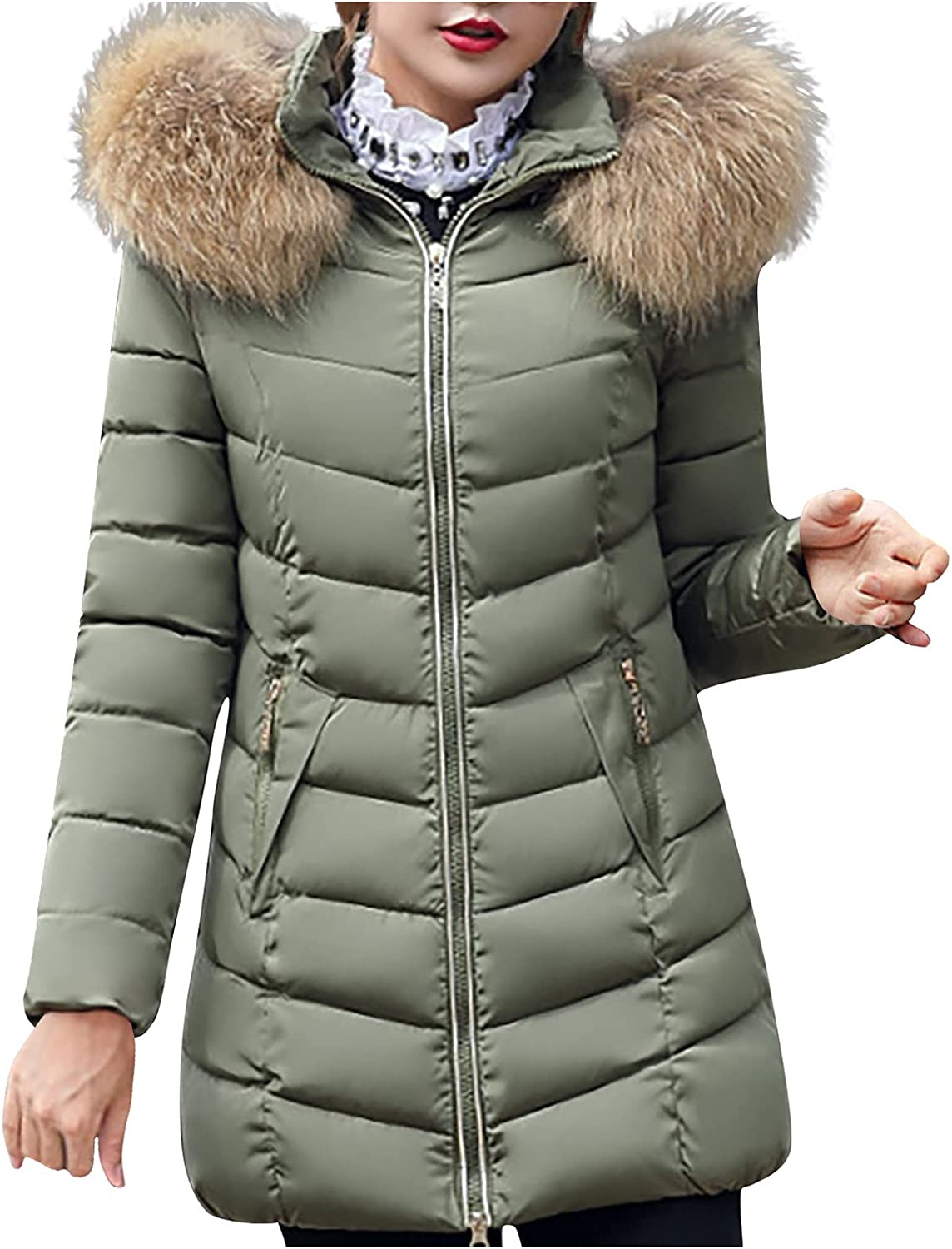 Women Mid-Long Down Coats Slim Quilted Puffer Jacket Fluffy Collar Thicken Warm Outwear With Pockets