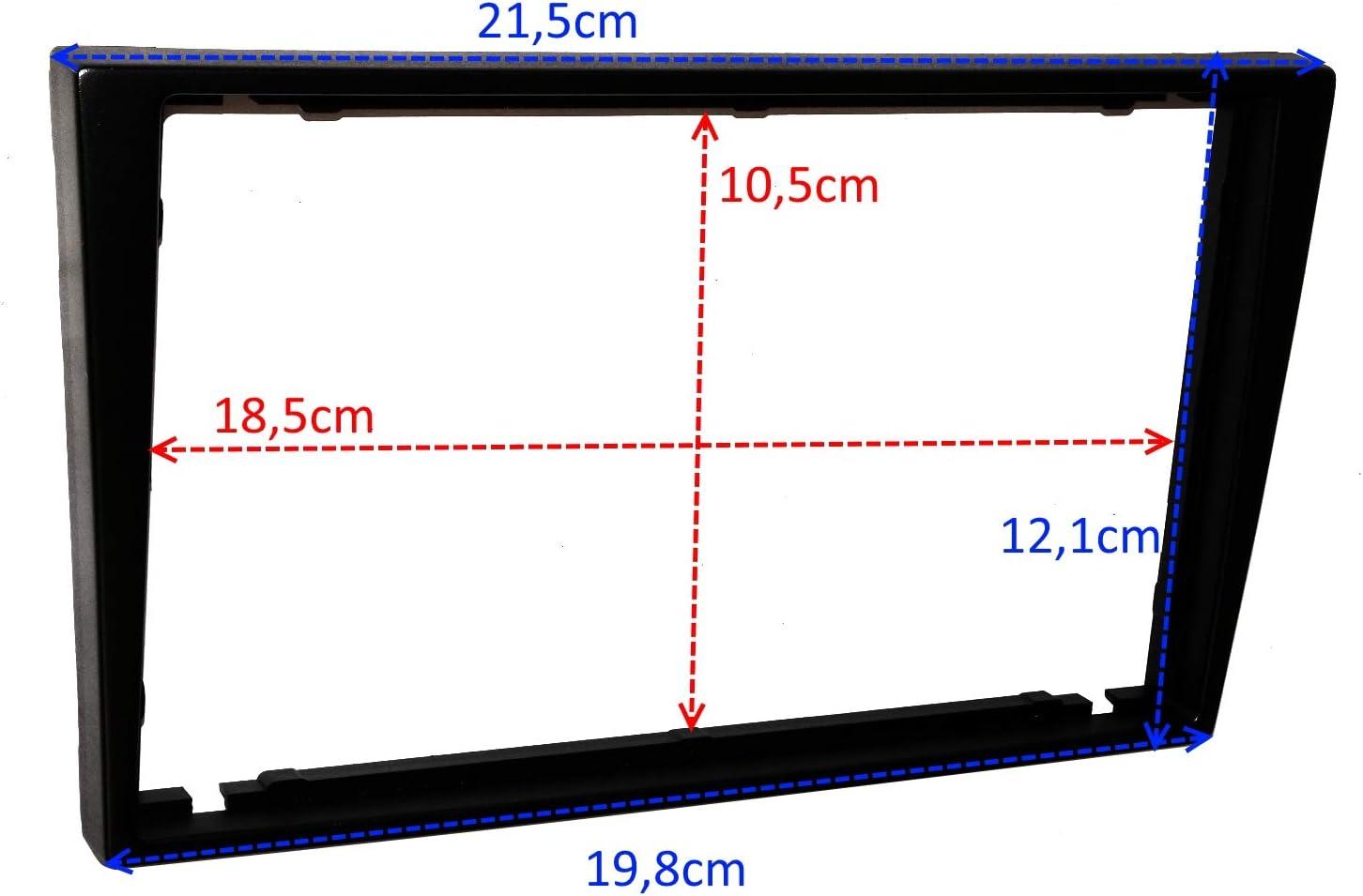 C4579A Marco AERZETIX 2DIN Kit de montaje de radio de coche est/ándar cable enchufe y adaptadores de antena Plata