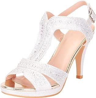 Women's T-Strap Crystal Rhinestone Platform High Heel Dress Sandal