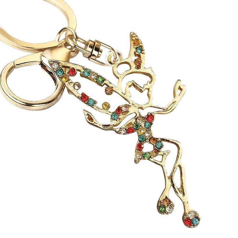 New Arrival Adorable Rainbow Crystal Tinkerbell Fairy Big Goden Key Ring Keychain Z614-B