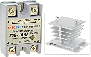 SSR-10AA Solid State Relay w Heat Sink, Single Phase Module Machinery Small AC Exchange Type Electronic Controller 80-250V AC / 24-380V AC